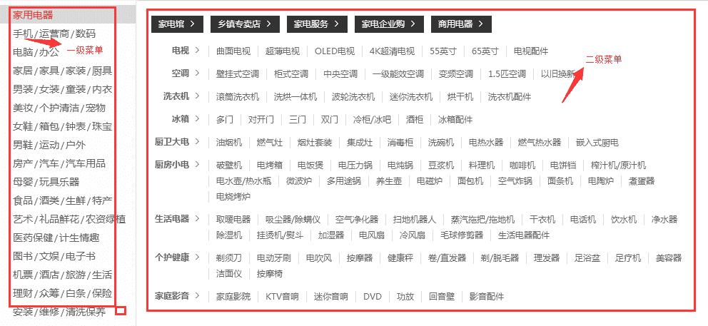 JS开发京东商城无延迟菜单效果