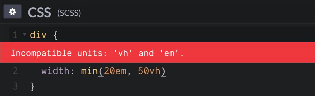 在min()/ max()函数中使用不同类型的单元时发生错误