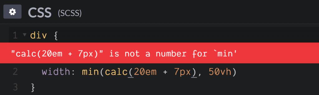 calc()在min()函数中嵌套使用不同的单位值时出错