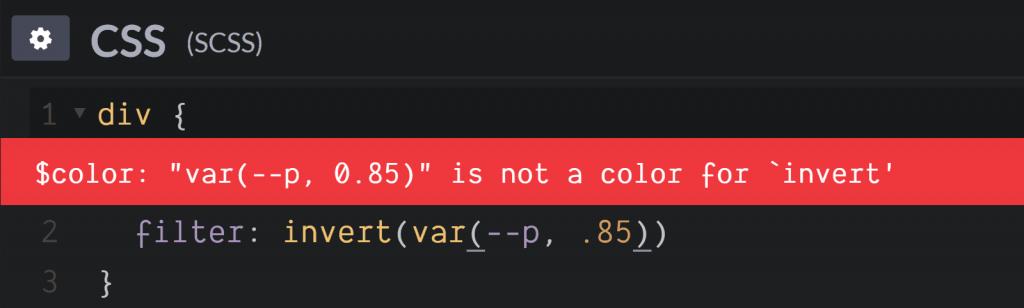 var()在filter: invert()错误
