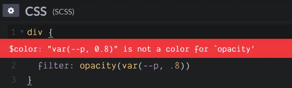 var()在filter: opacity()错误