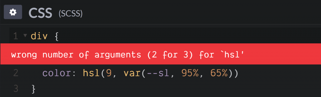 var()在color: hsl()错误。