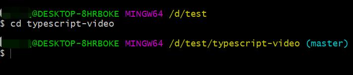 输入命令cd typescript-video