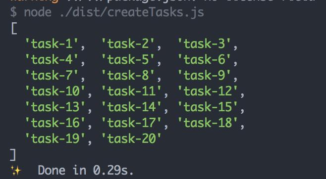 通过 LPUSH 方法往 TASK_NAME 的 List 当中塞入内容为 task-1 到 task-20 的任务