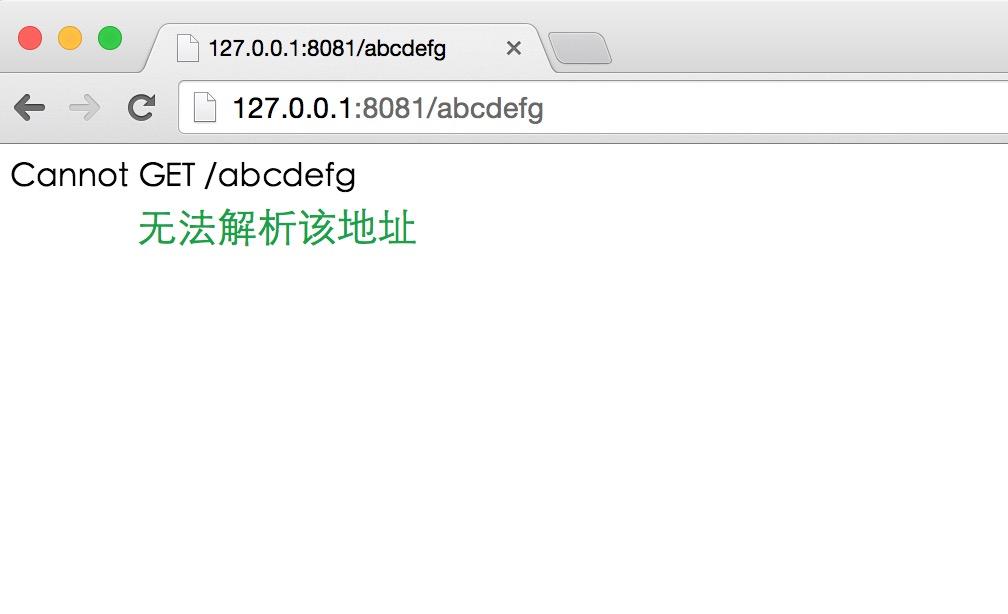 在浏览器中访问 http://127.0.0.1:8081/abcdefg,结果如下图所示:
