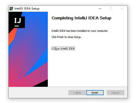 勾选Run IntelliJ IDEA,点击finish运行软件