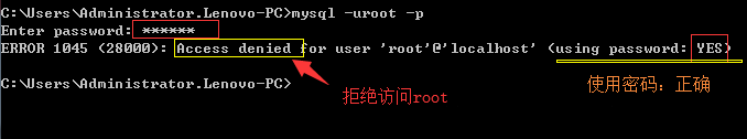 ERROR 1045 (28000): Access denied for user 'root'@'localhost' (using password: YES);