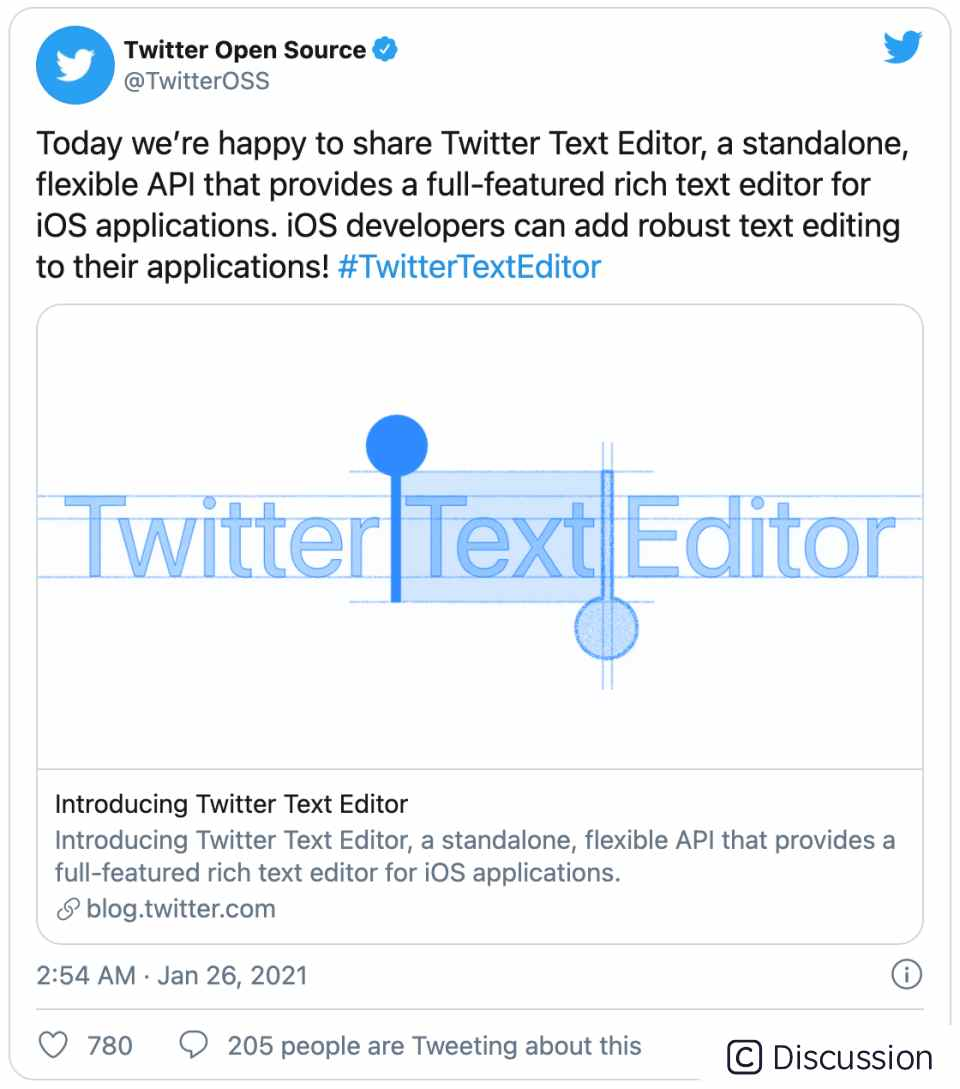 Twitter 推出开源 iOS 文本编辑器 API