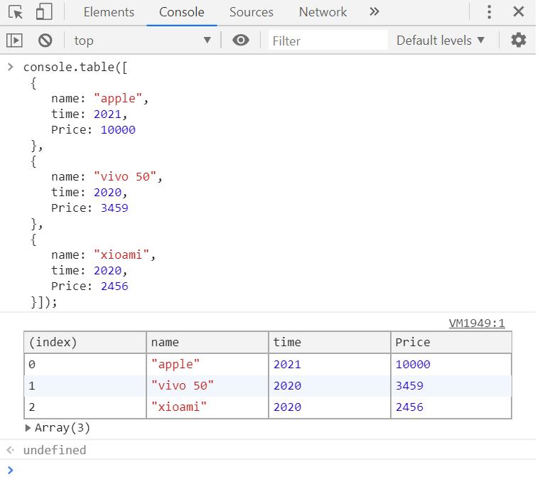 console.table()展示JSON数据