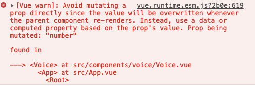 "Vue 解决"" ...pops value. Prop being mutated: ""number""""问题"