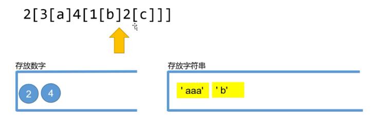 把 'b' 重复一遍后拼接到第二个栈顶元素