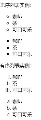 list-style-type属性指定列表项标记的类型