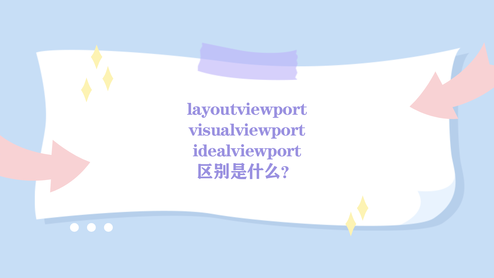 layoutviewport、visualviewport 和 idealviewport 的区别是什么