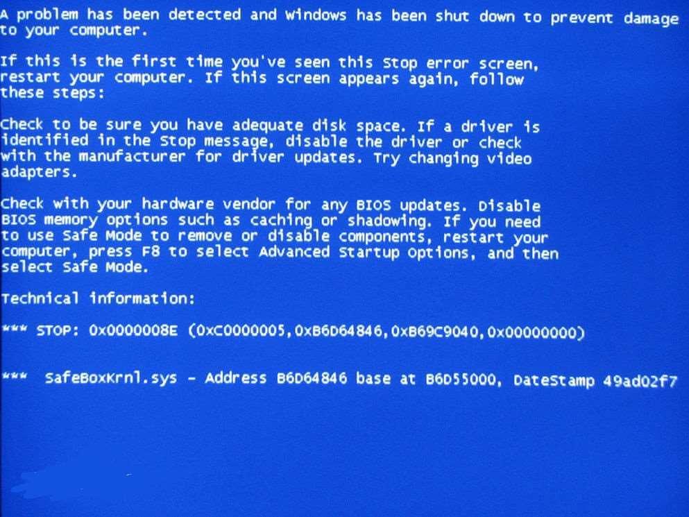 windows 系统的崩溃 '蓝屏'