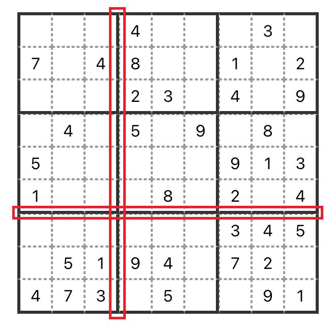 将第四、七列的左边边框和第三、六行的底部边框进行隐藏