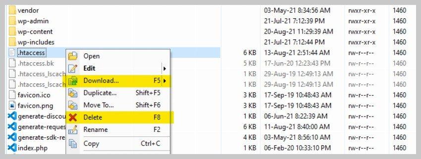 损坏的 .htaccess 文件