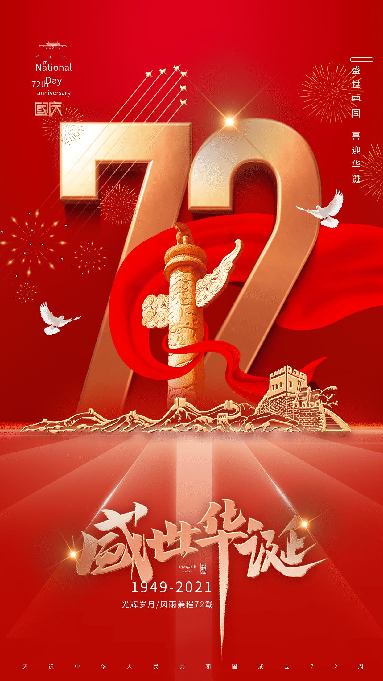 热烈庆祝中华人民共和国成立七十二周年