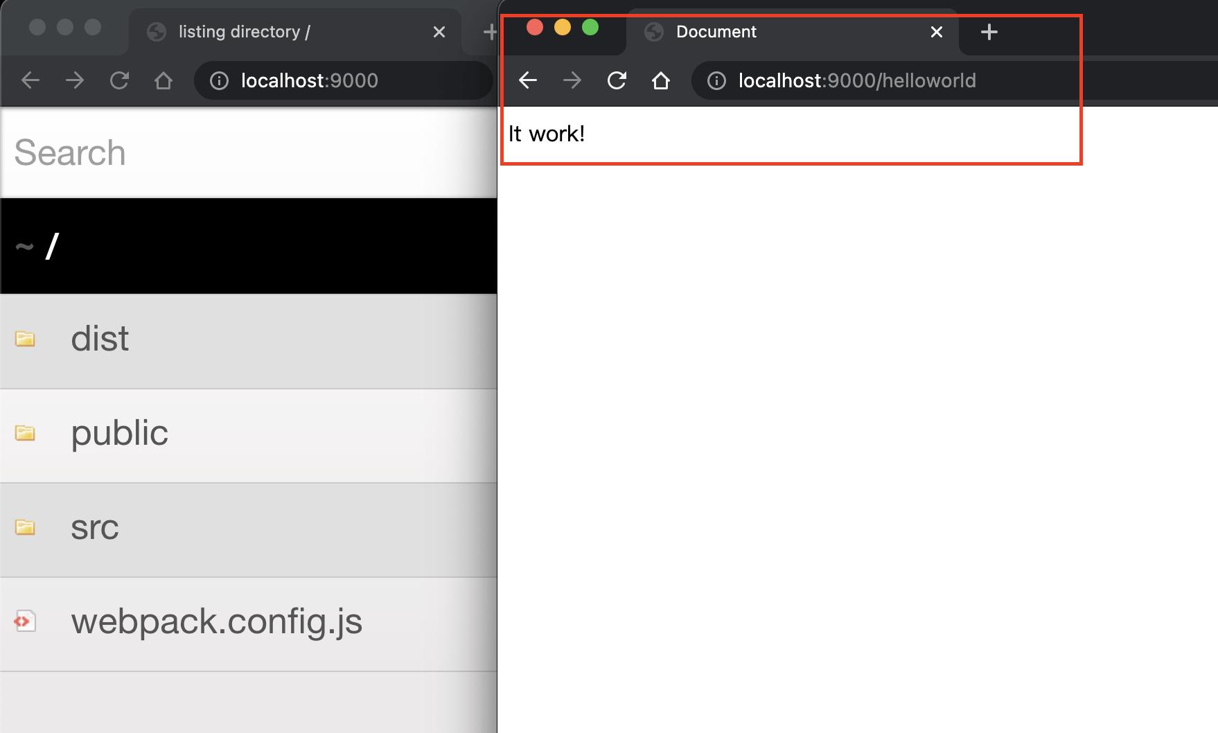 手动在默认打开的路径后加上output.publicPath的内容